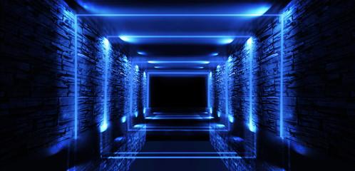 Abstract empty, old tunnel, corridor, arch, dark room, neon illumination, thick smoke, smog. Bright neon background. 3d illustration