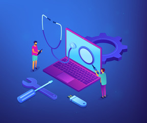 Computer technicians repair laptop with magnifier, stethoscope and tools. Computer service, laptop repair center, notebook setup service concept. Ultraviolet neon vector isometric 3D illustration.