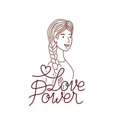 woman with label love power avatar character