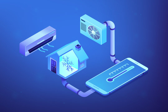 Smart house and air conditioning system controlled with smartphone. Air conditioning, smart cooling system, air conditioning units concept. Ultraviolet neon vector isometric 3D illustration.