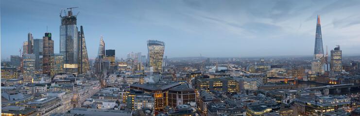 europe, UK, England, London, City Shard panorama dusk 2019 January