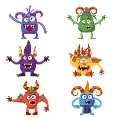 Set of cute funny characters troll, bigfoot, goblin, devil, yeti, imp, with different emotions, cartoon style, for books, advertising, stickers, vector, illustration, banner, isolated