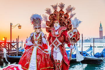 Venice, Italy. Carnival of Venice, beautiful masks at St. Mark's Square.