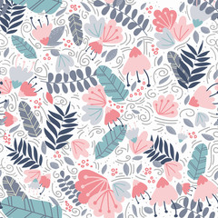 Vector botanical seamless pattern with tropical leaves, plants and berries. Big colorful flowers. Trendy color palette