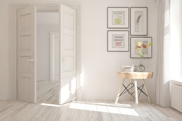 White empty room with table. Scandinavian interior design. 3D illustration