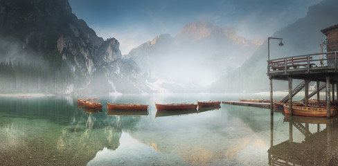 Lago di Braies in National Park Dolomites, Italy