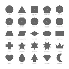 Big set vector basic shape. Circle, triangle, square, pentagon, hexagon, heptagon, octagon, nonagon, decagon, superellipse, trapezium, parallelogram, rhombus, ellipse, rectangle, octagram and more.