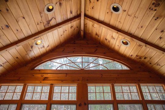 Interior windows inside a beautiful wood cabin
