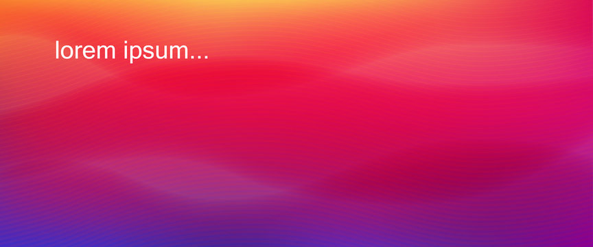 Background with vibrant gradient from yellow to purple. Blurred fluid effect. Vector illustration