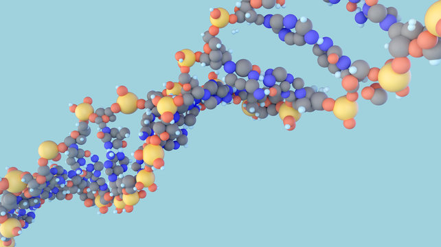 DNA molecule double helix close up view