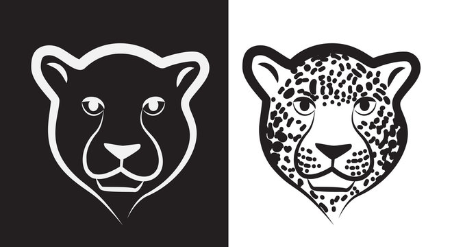 Panther or Leopard Icon or Emblem Isolated