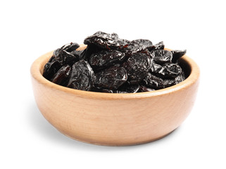 Bowl of tasty prunes on white background. Dried fruit as healthy snack