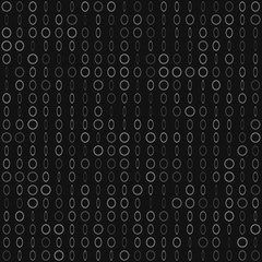 Abstract seamless pattern of small rings or pixels in various sizes in gray and black colors