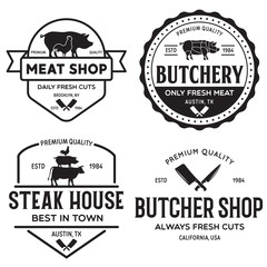 Set of Butcher Shop and Butchery hand written lettering logo, label, badge, emblem. Template for shop, cover, sticker, print, business works. Vintage retro style.