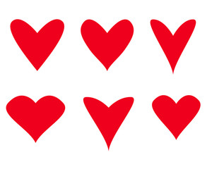 Hearts on isolated white background. Hand drawn set of love signs. Unique abstract image for design. Line art creation. Colored illustration. Elements for poster or flyer