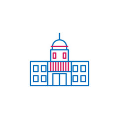 Elections, capitol outline colored icon. Can be used for web, logo, mobile app, UI, UX