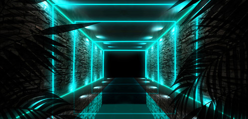 Fotomurales - Background of the dark room, tunnel, corridor, neon light, lamps, tropical leaves. Abstract background with new light. 3D rendering