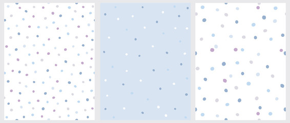 Set of 3 Hand Drawn Irregular Dots Patterns. Blue, Brown and Beige Dots on a White Background. Blue, White and Brown Dots on a Blue Background. Infantile Style Abstract Art. Cute Repeatable Design.