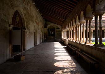 Walking through the monasteries of Verona. Monastery of San Zeno Maggiore. Old Italy.