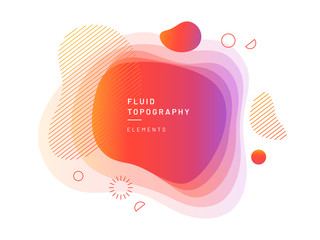 Layered fluid blobs. Yellow and red, violet geometric liquid topography. Abstract blurry free shapes gradient. Brush spot with dynamic colors and circles. Background template for flyer or banner Wall mural