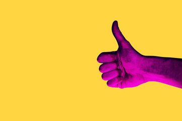 Isolated hand photo on yellow background. Pink hand collage style. Bright pop art template with...
