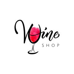 Wine shop, boutique logo. Lettering wine