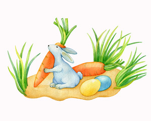 Happy easter decor - a cute white rabbit with colored eggs and carrots. Hand drawn watercolor painting illustration isolated on white background.