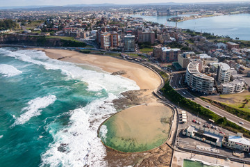 Newcastle Beach and Canoe Pool aerial view - Newcastle New South Wales Australia