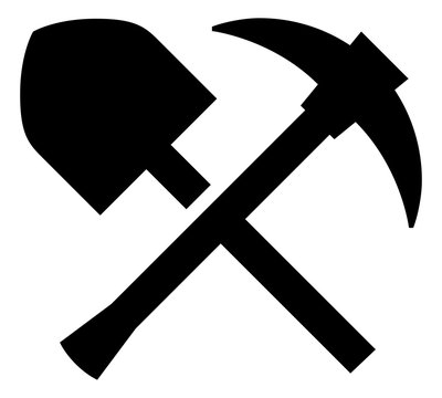 Miner Pickaxe Shovel Vector Icon.eps