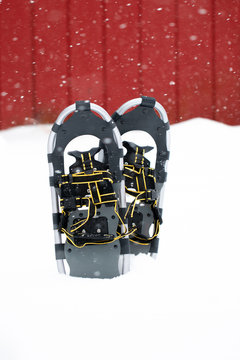 Vertical photo of snowshoes with red background and snow falling