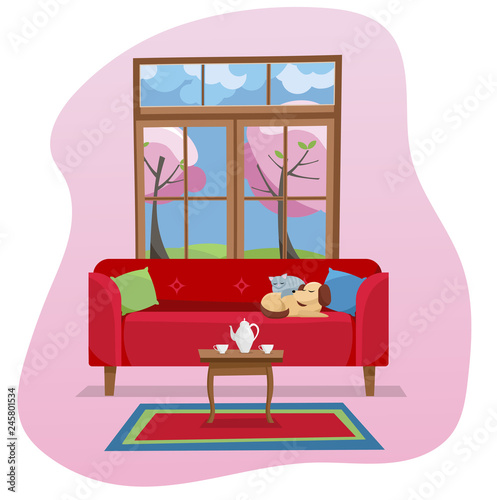 Modern Flat Design Concept Living Room Interior In Color Spot On White  Background. Red Sofa With Table,carpet, In Room With Large Window.