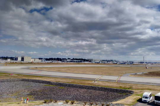 Seattle, USA - September 1, 2018: Boeing factory and runway at Boeing field.