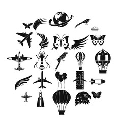 Bird icons set. Simple set of 25 bird vector icons for web isolated on white background
