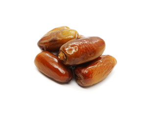 Dates are fruits of Date palm tree isolated on white background.