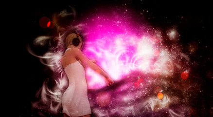 Young blonde woman dj playing music - 3D rendering