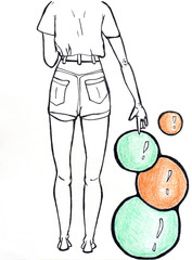Surreal illustration of girl in the shorts standing back and touching colorful orange and green balls. Graphic drawing on white background