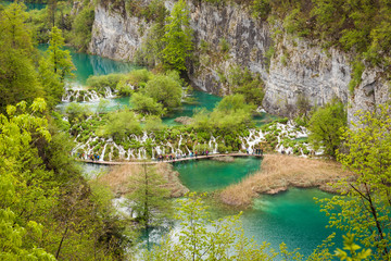 Amazing view of pure water, turquoise cascading lakes, Plitvice Lakes National Park, Croatia