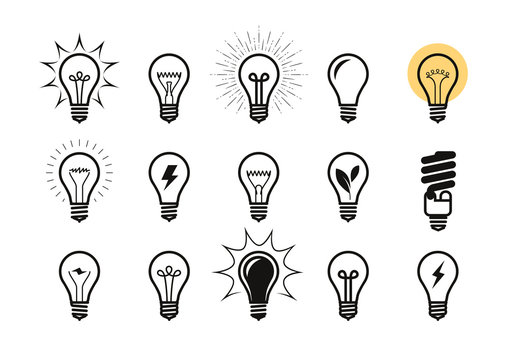 Lightbulb icon set. Light bulb, electricity, energy symbol or label. Vector illustration