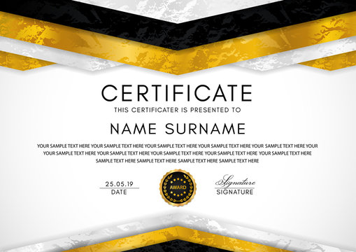 Certificate template with geometry frame and gold badge. White background design for Diploma, certificate of appreciation, achievement, completion, of excellence, award
