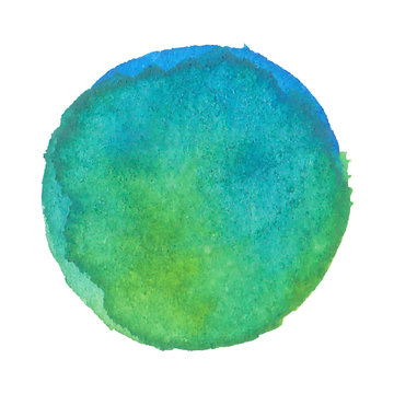 Watercolor stain of earth. Blue and green - vector illustration.