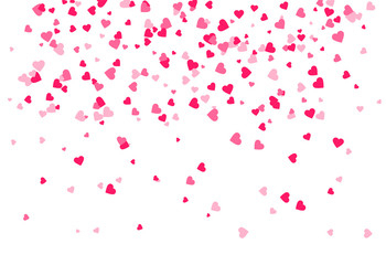 Falling pink hearts background
