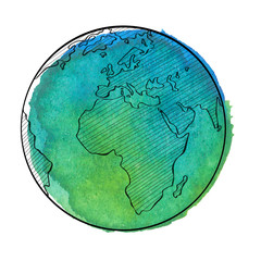 Watercolor earth. Vector illustration.