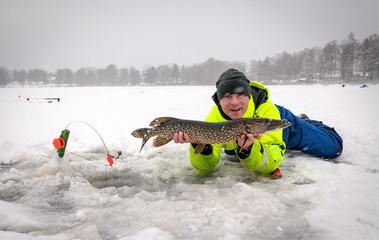 Winter pike fishing on Swedish lake