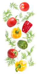 Flying fresh sweet pepper and dill isolated on white background