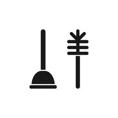 Toilet Plunger with Brush, Bathroom Clean Equipment. Flat Vector Icon illustration. Simple black symbol on white background. Toilet Plunger and Brush sign design template for web and mobile UI element