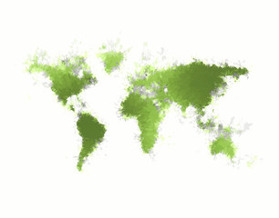 Abstract green world map on white background