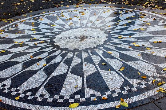Imagine Lennon mosaic in central park manhattan new york city
