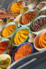 Beautiful composition of multicolored spices