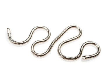 Silver chain on white background.