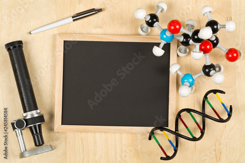 Blank Empty Black Chalkboard With Microscope Molecule Model Pen